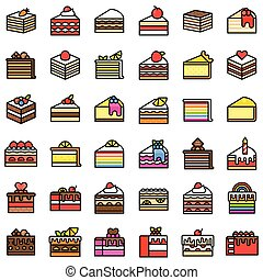 Various cake vector icon set, filled style