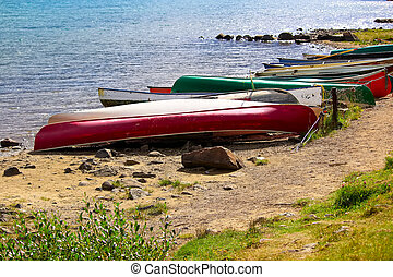Various canoes chained up on a sandy shore
