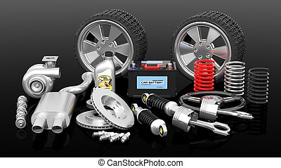 Various car parts and accessories, isolated on black background