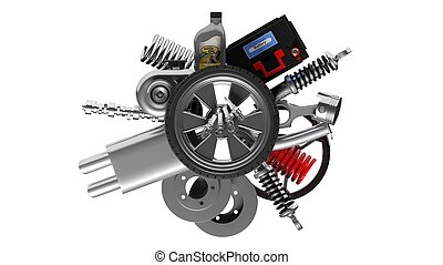 Various car parts and accessories, isolated on white background