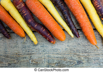 various carrots on a table