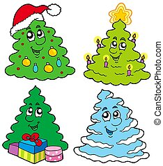 Various cartoon Christmas trees