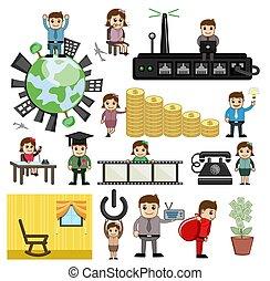 Various Cartoon Concepts Set