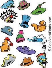 Various cartoon hats