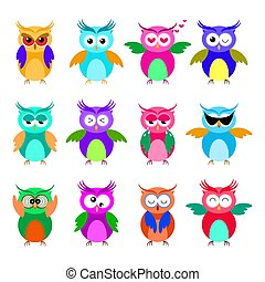 Various cartoon owl emoticon set. Funny owl emoji collection.
