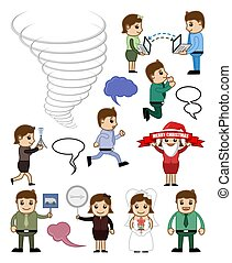 Various Cartoon People Conceptual Vectors