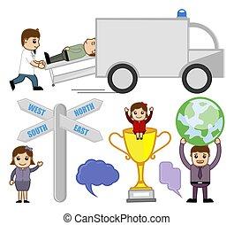 Various Cartoon Vector Concepts Set