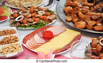 various catering food on a table