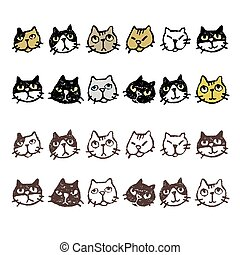 Various cat's face expression