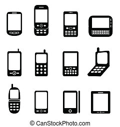 Various cell phones and tablets