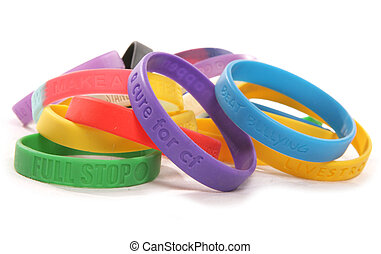 Various charity wristbands cutout taken in a studio
