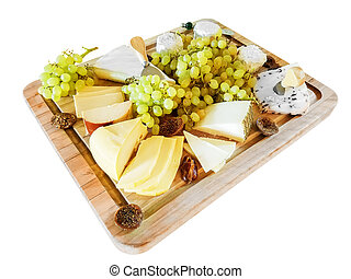 Various Cheeses, Grapes, and Figs, on a Cutting Board