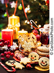 Various Chrismtas cookies, Holiday concept