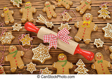 Various Christmas gingerbread