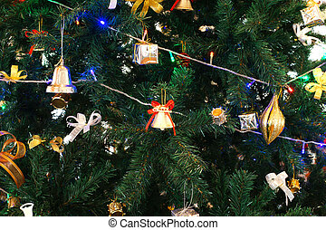 various christmas ornaments on christmas tree