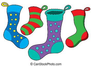 Various Christmas socks - isolated illustration.