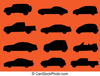 Various city cars silhouettes isolated on red background.