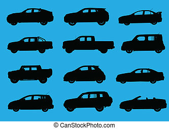Various city cars silhouettes isolated on blue background.