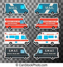 Various city urban traffic vehicles