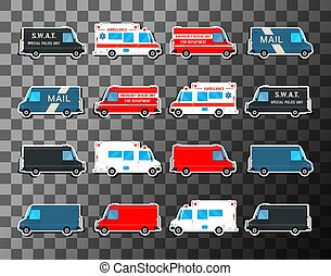 Various city urban traffic vehicles