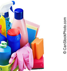 various cleaning products isolated on white background