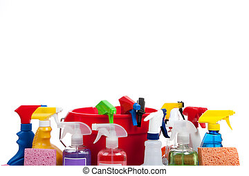 Various cleaning supplies on a white background - Various...