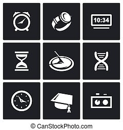 Various clock and a method for determining time icons set. -...