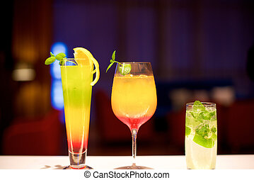 Various Cocktails in the bar