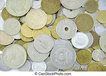 Various coins from around the world