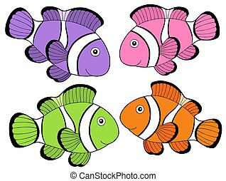 Various color clownfishes 2