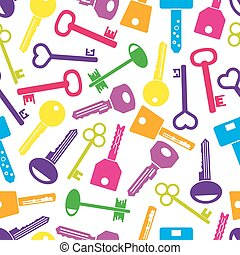 various color keys icons seamless pattern eps10