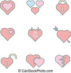 various color outline heart icons s
