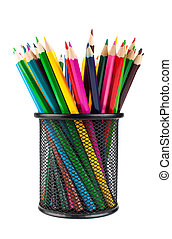 Various color pencils in black office cup isolated on white...
