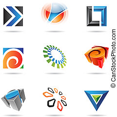 Various colorful abstract icons, Set 12