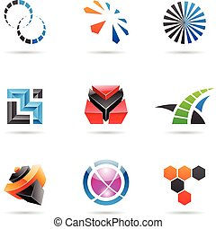 Various colorful abstract icons, Set 21