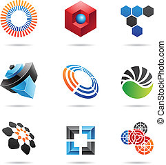 Various colorful abstract icons, Set 4
