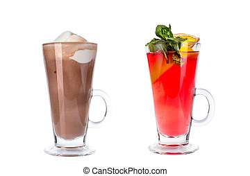 Various colorful cocktails in glass mugs on white background.