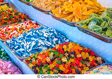 Various Colorful Gummi Candy Sweets at Market
