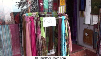 various colorful shawls in India