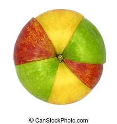 Various colorful sorts of apples sliced and joined in one...