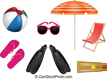 various colorful summer icons