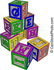 Various colorful toy blocks vector illustration on white background