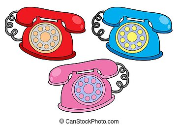 Various colors telephones - isolated illustration.
