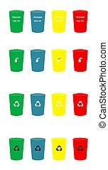 Various Colour recycle trash bins with icons set vector illustration