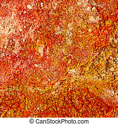 Various colourful spices of india close up background