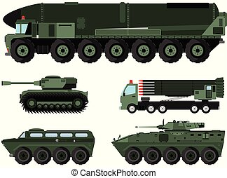 various combat vehicles