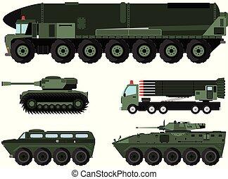 various combat vehicles