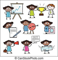 Various Concepts with Office Lady - Collection of Concepts Vector illustrations