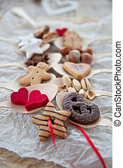 Various cookies and nuts for christmas