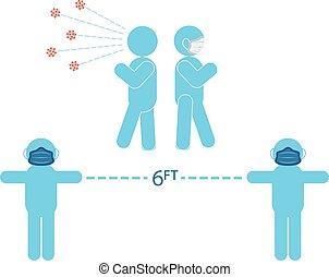 Germs - Various Coronavirus Prevention graphics Blue Medical...